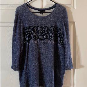 3/4 length blue sparkle sweater.